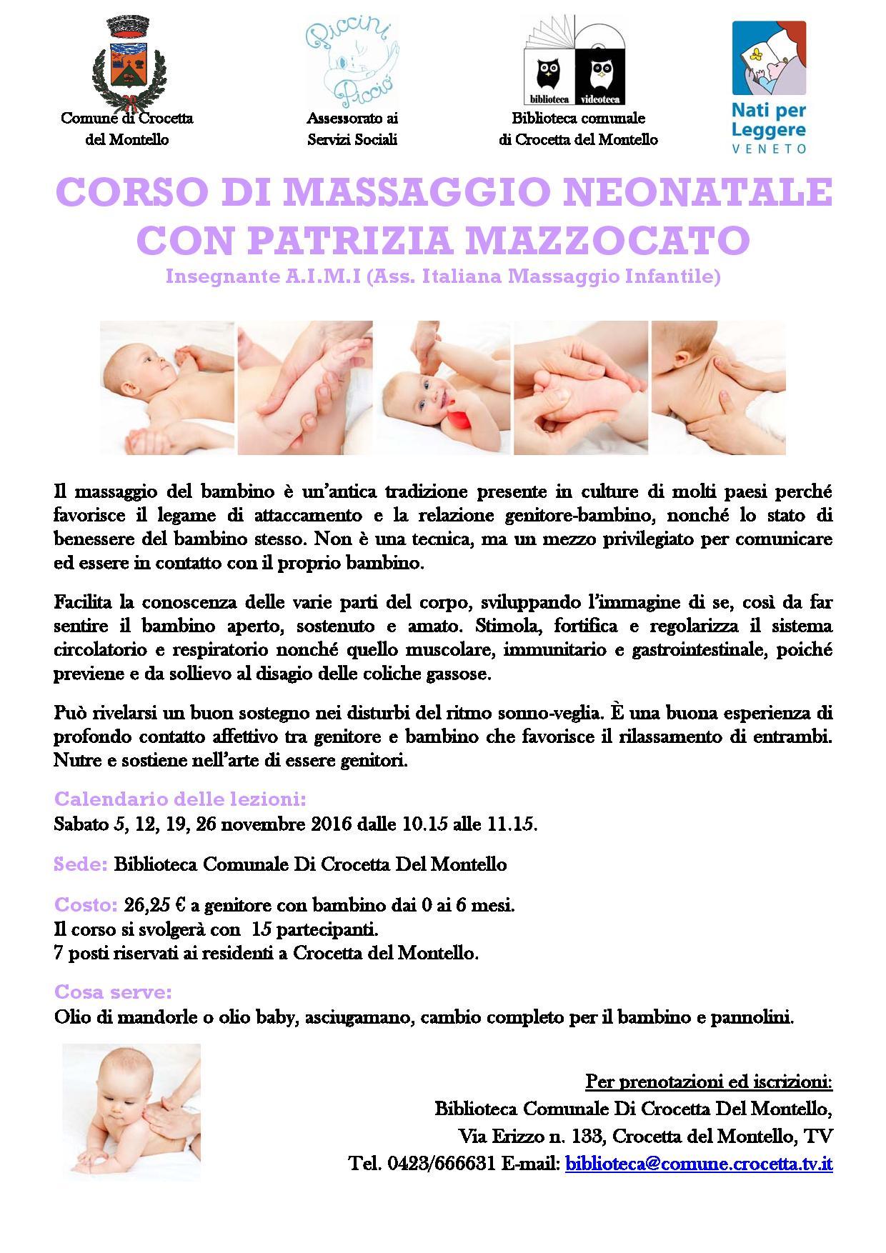 Massaggio neonatale con Patrizia Mazzocato NOVEMBRE 2016 2
